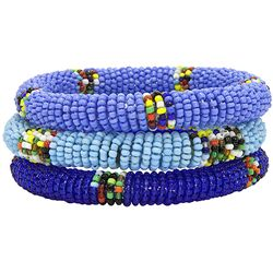 Trio of Blue Massai Bangles