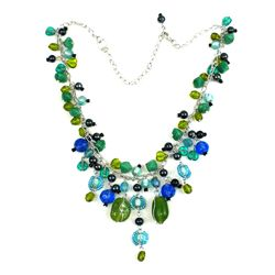 Silver Metal Green and Blue Glass Bead Charm Necklace