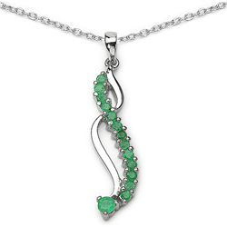 Sterling Silver Genuine Emerald Necklace
