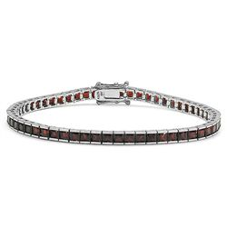 Sterling Silver Red Garnet Tennis Bracelet