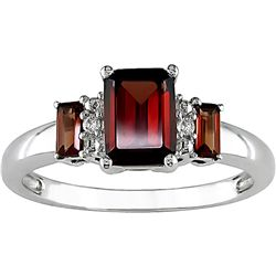10k White Gold Garnet Diamond Accent Ring