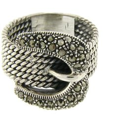 Sterling Silver Marcasite Cable Design Buckle Ring