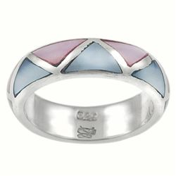 Sterling Silver Pink and Blue Mother of Pearl Ring