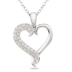 10k White Gold 1/4ct TDW Diamond Heart Necklace