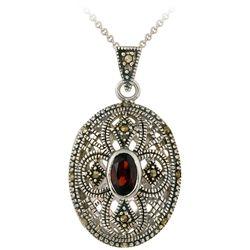 Glitzy Rocks Sterling Silver Marcasite and Garnet Oval Locket Necklace