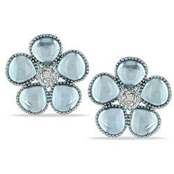 Miadora Silver 12 1/2 ct TGW Blue Topaz and Diamond Earrings