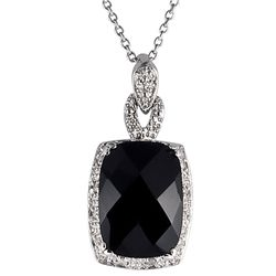 Sterling Silver Black Onyx and 1/10ct TDW Diamond Necklace