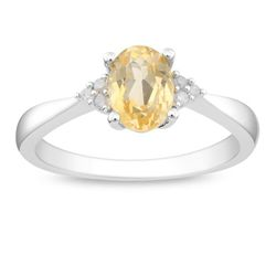Sterling Silver Oval Citrine and Diamond-accented Ring