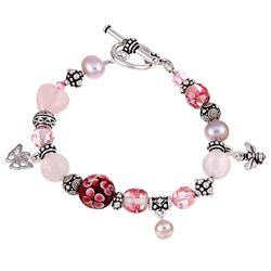 Charming Life Pewter Rose Quartz and Pearl Bracelet