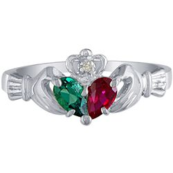 10k White Gold Created Emerald, Created Ruby and Diamond Claddagh Ring