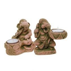 Handcrafted Pair Sandstone Ganesh Candle Holders (CLB-484)