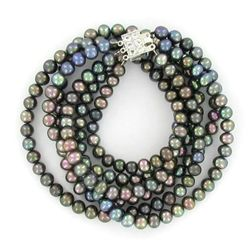 Black Small Saltwater Pearl Necklace (JEW-250E)