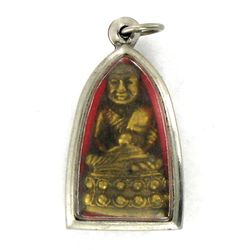 Vintage Thai Bronze Monk Amulet in Nickel Pendant Case (ANT-1209)