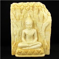Hand Carved Petrified Wood Thai Buddha (ANT-1913)