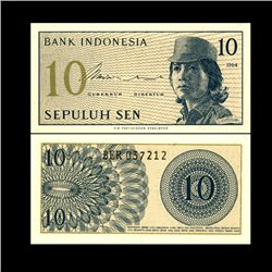 1964 Indonesia 10 Sen Note Crisp Unc (CUR-06758)