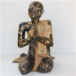 Large Gilded Buddhist Wood Monk Handcarved INVEST (CLB-102)