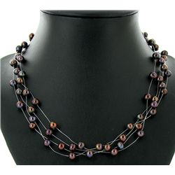 Black Peacock Saltwater Pearl 4 Strand Necklace (JEW-2570)