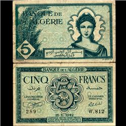 1942 Algeria 5 Franc Note Circulated (CUR-07064)