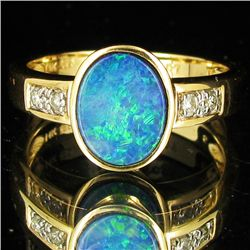 16.75twc Opal Diamond 14k Gold Ring (JEW-3402)