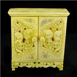 Chinese Handcarved Bone Double Gem Box (CLB-847)