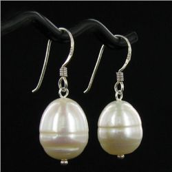 Saltwater Baroque White Pearl Earrings (JEW-250B)