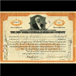 1929 NY Central Railroad Stock Certificate Great Depression (CUR-06634)