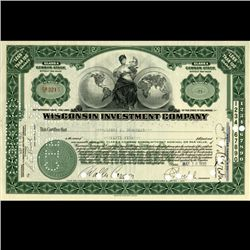 1930s Wisc. Investment Co. Certificate Green SCARCE (CUR-06623)