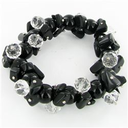350twc Natural Black Onyx Crystal Bracelet (JEW-3456)