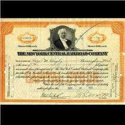1925 NY Central Railroad Stock Certificate pre-Depression (CUR-06630)