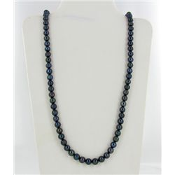 Black Iridescent Top Saltwater Pearl Necklace (JEW-1920)
