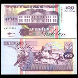 1998 Suriname 100 Gulden Crisp Uncirculated Note (COI-3931)