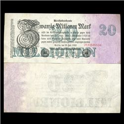 1923 Germany 20000000 Mark Note Hi Grade Rare (CUR-05659)