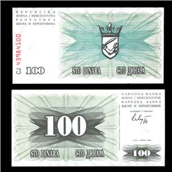1992 Bosnia 100 Dinara Crisp Uncirculated Note (COI-4563)