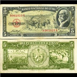1958 Cuba 5 Peso Note Crisp Circulated (CUR-06371A)