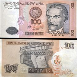1987 Peru 100 Intis Crisp Uncirculated Note (CUR-05612)