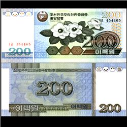2005 N Korea 200 Won Note Crisp Unc (CUR-06736)