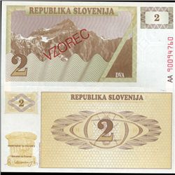 1991 Slovenia 2 T Specimen Crisp Unc Note (CUR-06342)
