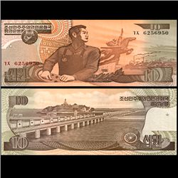 1992 N Korea 10 Won Note Crisp Unc (CUR-06734)