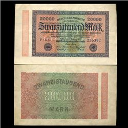 1923 Germany 20000 Mark Note Hi Grade Rare (CUR-05673)