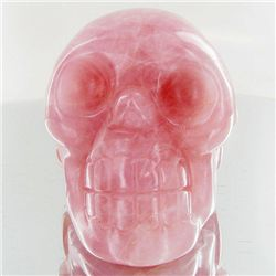 1510ct Hand Carved Rose Quartz Skull (MIN-001729)
