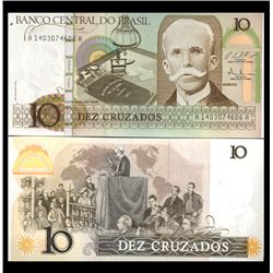 1987 Brazil 10 Cruzados Crisp Uncirculated Note (CUR-05913)