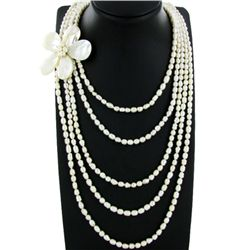 5 Strand Chinese Baroque Pearl Necklace  (JEW-2201)