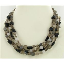 600twc Smoky Quartz Agate Bead Necklace (JEW-3647)