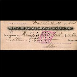 1894 Merchantile Trust San Fran Cashiers Check (COI-3263)