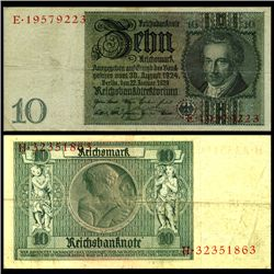 1929 Germany 10 Mark Note Better Grade (CUR-06662)