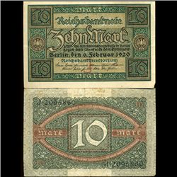 1920 Germany 10 Mark High Grade Note (COI-3937)
