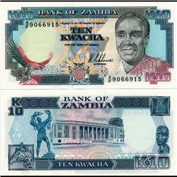 1989 Zambia 10 Kwacha Note Crisp Unc (CUR-07121)