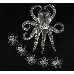 Handcrafted Glass Octopus Mom & Kids (DEC-379)