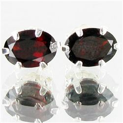 4.41twc Red Garnet Sterling Earrings (JEW-2655)