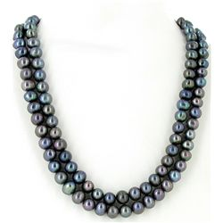Black Saltwater Baroque Pearl 2 Strand Necklace (JEW-2590)